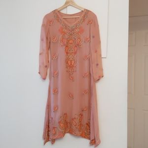 Authentic Indian embroidered dress peach orange